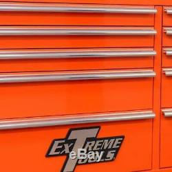 Extreme Tools Tool Chest Box Garage 11 Drawer Roller Cabinet Storage Orange 41