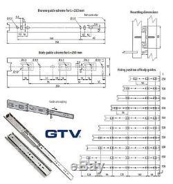 FULL BOX of Full Extension 45mm Ball Bearing Drawer Runners/Slides 250mm-700mm