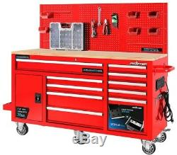Frontier 10-Drawer Tool Chest Cabinet Back Wall Heavy-Duty Mobile Workbench New