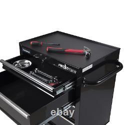 Frontier 26 Inch 4 Drawer Bottom Chest Metal Garage Tool Storage Cabinet Black