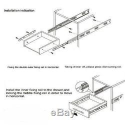 Full Extension 20 Soft Close Ball Bearing Drawer Slides Side Mount/Rear Mount