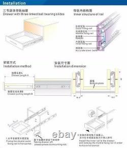 Full Extension Soft Closing Ball Bearing Drawer Slides- Lot of 10 pairs