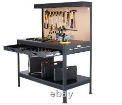 Garage Work Bench Workshop Table Drawers Tool Storage Steel Shelves Peg Board