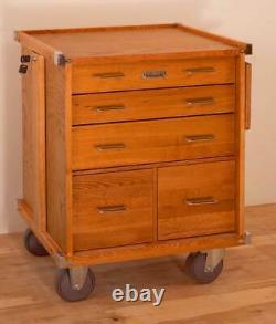 Gerstner International GI-R24 5-Drawer Oak & Veneer Roller Cabinet Tools Hobby
