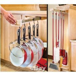 Glideware Pan 7 Hook Utility Organizer with Ball Bearing Slides, Maple