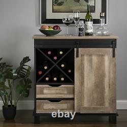 Glitzhome Industrial Wine Storage Cabinet Slideboard Bottle Rack Display Holders