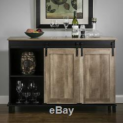 Glitzhome Kitchen Bar Wine Rack Buffet Table Sideboard Shelf Storage Cabinet New
