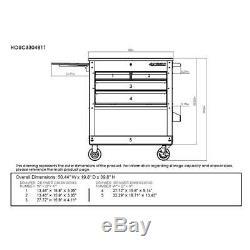 HUSKY 33 Inch Black 4-Drawer Mechanics Rolling Cart