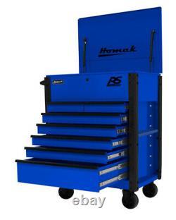 Homak Mfg BL06035247 35 7 Drawer Hd Flip Top Service Cart-blue
