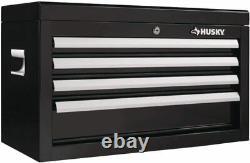Husky 26 in. W 4-Drawer Tool Chest Box Storage Organizer Cabinet in Gloss Black