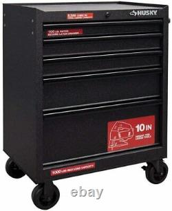 Husky 27 in. 5-Drawer Workshop Storage Roller Cabinet Tool Chest Textured Black