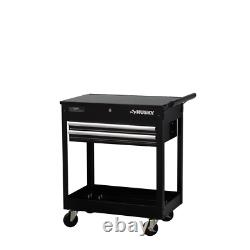 Husky 28 in 2-Drawer Tool Utility Cart Gloss Black Lift-Top Worktop Tool Storage