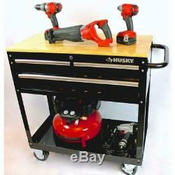 Husky 3-Drawer Rolling Tool Cart with Hard Wood Work Bench Top Tool Roll-away