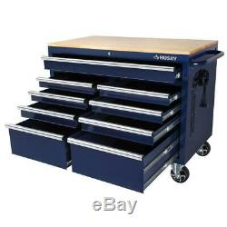 Husky 46 in. W 9-Drawer, Deep Tool Chest Mobile Workbench in Gloss Blue with
