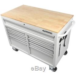 Husky 46 in. W 9-Drawer, Deep Tool Chest Mobile Workbench in Gloss White with Ha