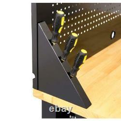 Husky 4Ft Top Workbench Tool Storage Drawer Pegboard Garage Workshop Solid Wood