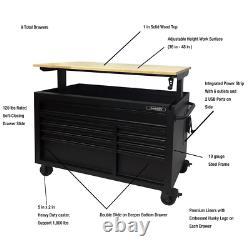 Husky 52 W 9-Drawer Mobile Workbench Hardwood Top Tool Chest Cabinet Organizer