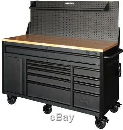 Husky 61 in. 10-Drawer 1-Door 24 in. D Mobile Workbench with Solid Wood Top, in