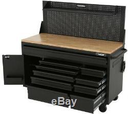 Husky 61 in 10-Drawer 1Door Mobile Workbench Pegboard Shelf Textured Black Matte