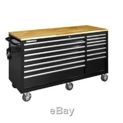 Husky 62 in. 14-Drawer 6-Swivel Casters Solid Wood Top Wheeled