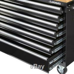 Husky 62 in 14-Drawer Mobile Workbench Storage Organizer with Solid Wood Top Black