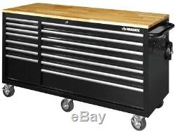 Husky 62 in. 14-Drawer Mobile Workbench with Solid Wood Top, Black