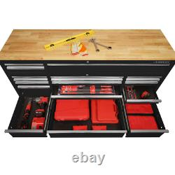 Husky 72 in. 18-Drawer Mobile Workbench With Solid Wood Top Black Tool Organizer