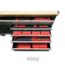Husky Chest Mobile Workbench 52 W 5-Drawer 1-Door Hardwood Top Stainless Steel
