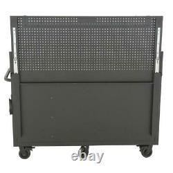 Husky Chest Mobile Workbench 61-Inch W 10-Drawer 1-Door Deep Hardwood Top Black