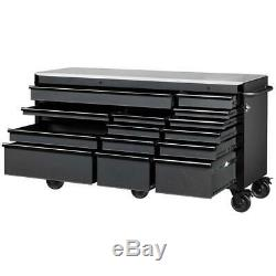 Husky Chest Mobile Workbench 72 in x 24 in 15 Drawer Tool Heavy Duty with Steel