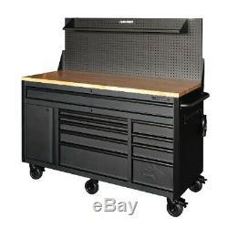 Husky HOTC6110BB1M 61 10-Drawer Mobile Workbench WithPegboard & Shelf