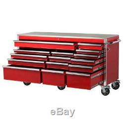 Husky Heavy-Duty 72 in. W x 24 in. D Red 15-Drawer Tool Chest Mobile Workbench