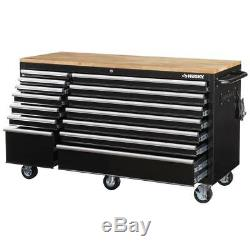Husky Mobile Workbench 14-Drawer with Solid Wood Top Extendable Black 62 in