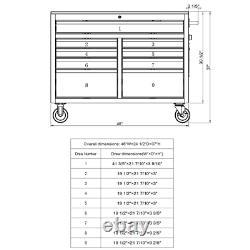 Husky Mobile Workbench 46 in. W 9-Drawer Deep Tool Chest Hardwood Top Gloss Gray