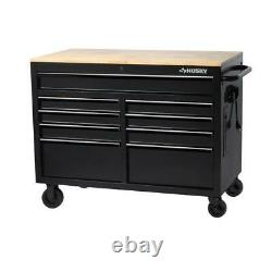 Husky Mobile Workbench 46 in. W Hardwood Top Deep Tool Chest Steel (9-Drawer)