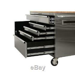 Husky Mobile Workbench 52 in 5 Drawer Single Door with Solid Wood Top Stainless D