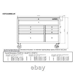 Husky Mobile Workbench 52 in. W 9-Drawer, Deep Tool Chest in Gloss Black