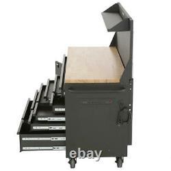 Husky Mobile Workbench 61 in. W 10-Drawer 1-Door Matte Black Pegboard Shelf