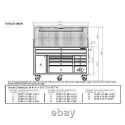 Husky Mobile Workbench 61 in. W 10-Drawer Adjustable Shelves Ball Bearing Slides