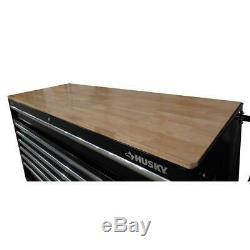 Husky Mobile Workbench Deep Tool Chest 66 in. W 12-Drawer Black Hardwood Top