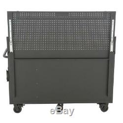 Husky Mobile Workbench Pegboard and Shelf 10-Drawer 1 Door 24 in. D Black 61 in