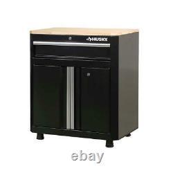Husky Steel Garage Base Cabinet 1-Drawer 2-Door Safeguards Garage Tool Workbench