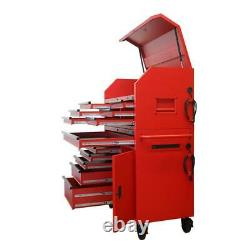 Husky Tool Chest 12 Drawer Rolling Cabinet Set 44 Extended Side Table Matte Red