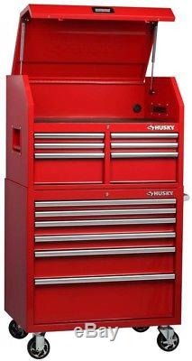 Husky Tool Chest 36 in. W 24.5 in. D Secure Open Lid Ball Bearing Slides Red