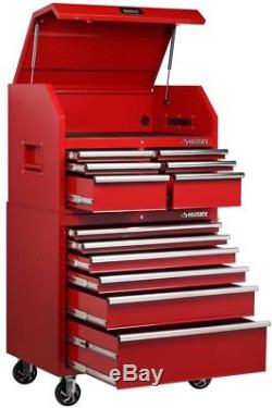 Husky Tool Chest Cabinet Combo 12-Ball Bearing Drawer Slides in Red Welded Steel