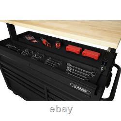 Husky Tool Chest Mobile Workbench 52 in. W 9-Drawer Matte Black Hardwood Top