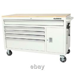 Husky Tool Chest Mobile Workbench 56 in. W 5-Drawer Wheels Hardwood Top White