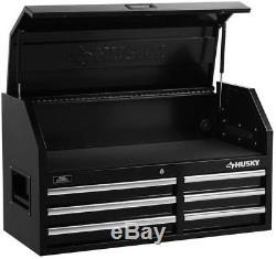 Husky Tool Chest Storage 41 6-Drawers Ball-Bearing Slides Rust-Resistant Black