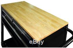Husky Tool Storage Cart 3-Drawers Wood Top Ball Bearing Slides Wheel Locks Black