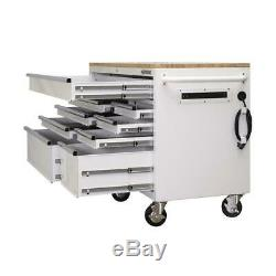 Husky Tool Storage Mobile Workbench 56 in. 9-Drawer Lockable Wood Top White